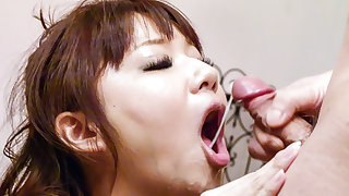 Yurika Miyachi poses with jizz all over her mouth