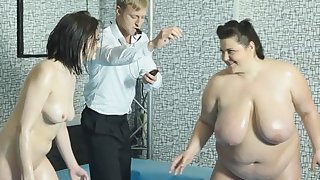 WOW BBW fightclub on television! The winner can take the cock! Guess who wins?