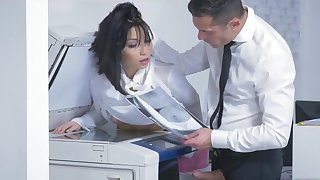 Mind blowing office hardcore for brunette Rina Ellis