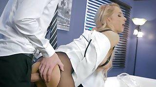 Gorgeous secretary enjoys the big cock of her boss