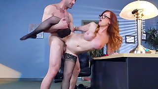 Harsh sex at the office along flaming secretary Dani Jensen