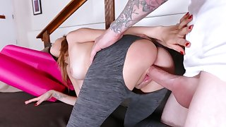 Yoga lesson ends with severe pussy penetration and cum on face