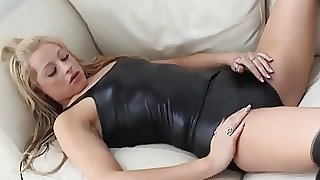 Teasing you in these tight black PVC panties is too easy