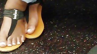 Candid ebony feet black sandals
