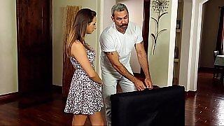 Cute babe seduced by a mature masseur