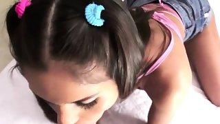 Sexy teen Katya Rodriguez gives hunk stud a head