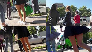 Skinny-bum slim chick caught wearing  in upskirt vid
