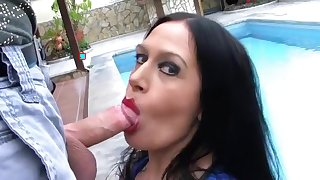 The Swimming Pool Latex Slut - Blowjob Handjob with Red Nails - Fuck my Mouth - Cum on my Tits