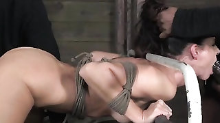 India Summer roughly fucked in rope bondage