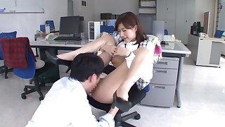 Hottest Japanese chick Ichika Kanhata in Exotic secretary, couple JAV clip