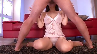 Exotic Japanese chick Marina Shiraishi in Fabulous blowjob, deep throat JAV movie