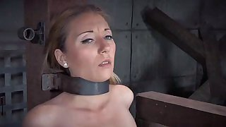Stockinged bdsm sub with mouth gag dominated