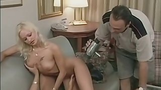 After a lustful group sex Claudia has her boobs splattered with jizz