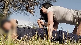 Dark haired amateur sucks cops dick outdoors