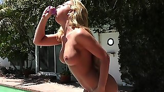 Roundass milf dildoed in ass while toying