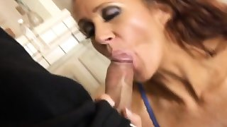 Redhead cougar gets asshole stretched by big cock