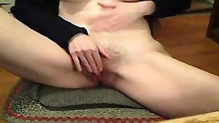 Hairy brunette teasing
