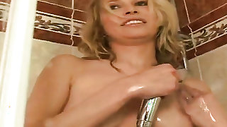 Blonde takes dudes cum loaded ram