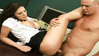 Brunette Josh with giant melons and hairless cunt gets her