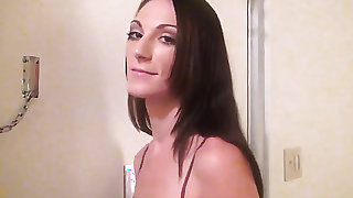 Brunette is ready to suck guys