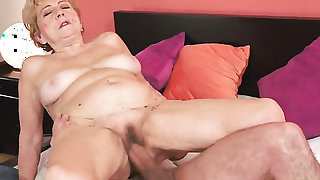 Mature with big hooters takes dudes cum