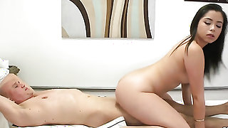 Oriental loves her fuck buddys rod in this handjob action