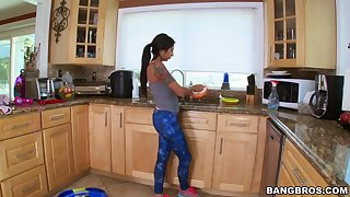 Bubble butt latina Stacy Jay cleans the house