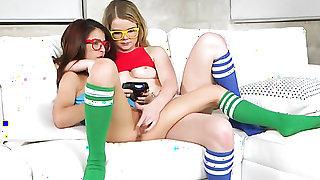 Brunette sexy wench Lexxxus Adams and Jmac enjoy