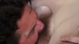Nickey Huntsman gets her hairy bush licked