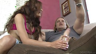 Ava Mendes sucks her stepdad's big cock